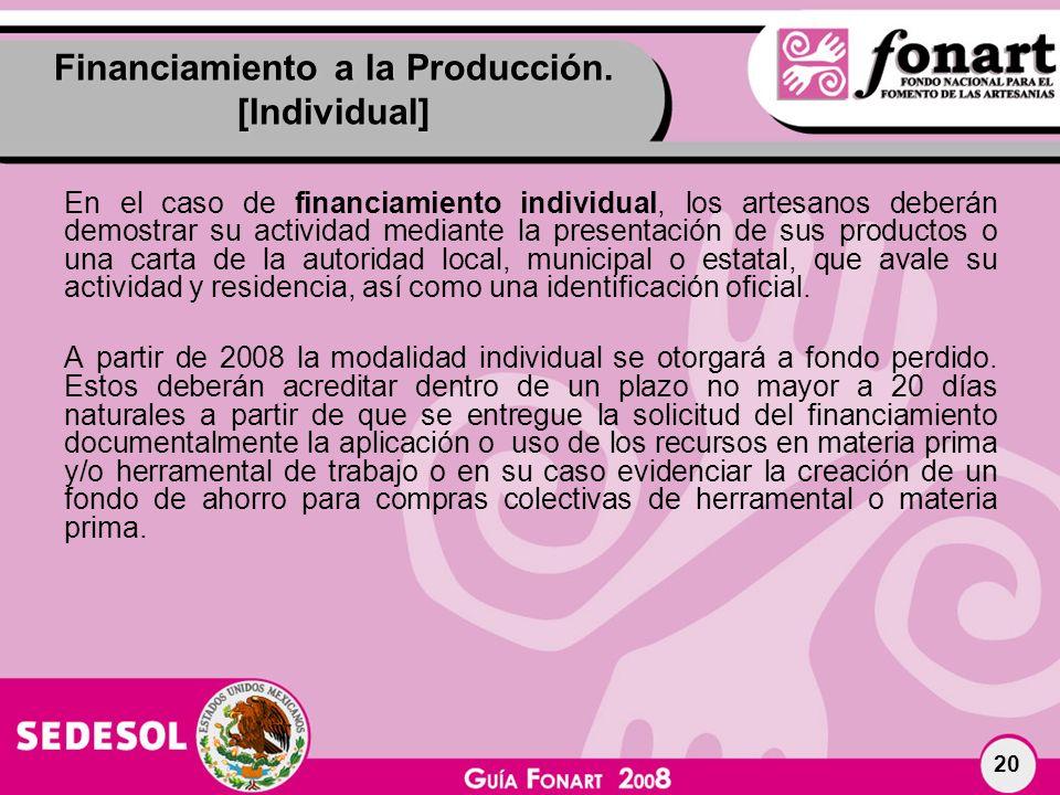 Financiamiento a la Producción. [Individual]
